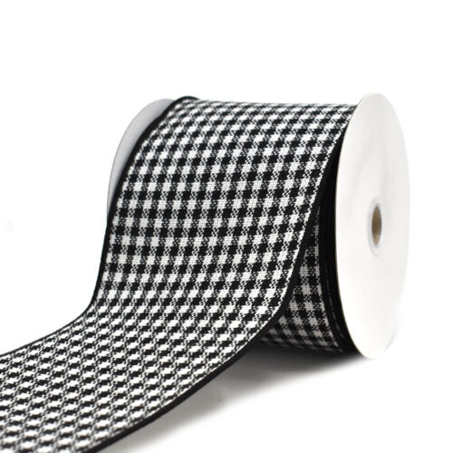 10-Yard 4-Inch Black and White Woven Checkered Wired Ribbon