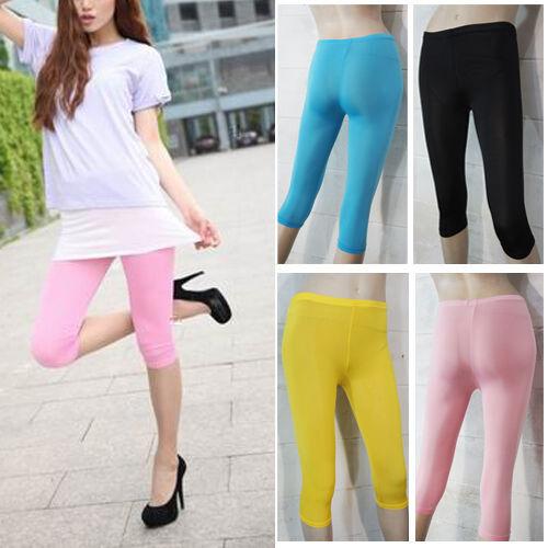Summer Womens 3/4 Length Cropped Basic Leggings Short Capri Tight Pant Stretch
