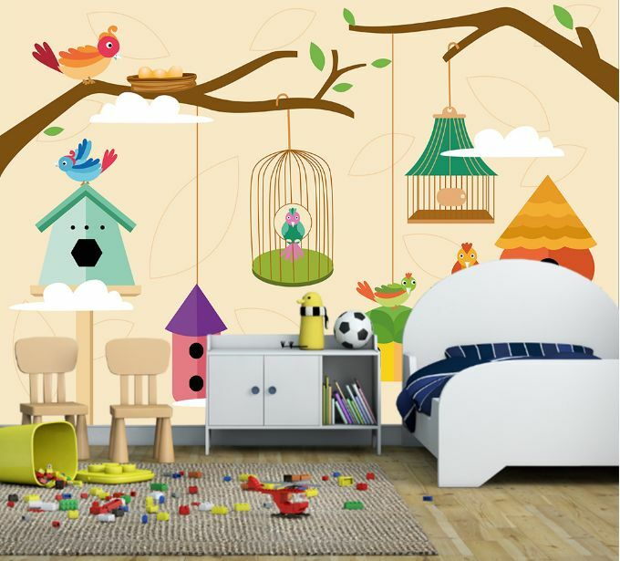 3D Bird Farbe Birdcage Branch Wall Paper Wall Print Decal Wall Deco AJ WALLPAPER