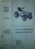 Sears Ff/20 Lawn Garden Tractor (8 Books) Owner, Parts, Implements Manuals Ad
