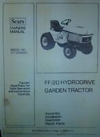 Sears Ff20 Garden Tractor (6 Books) Owner, Parts, Implements, Service Manuals Ad