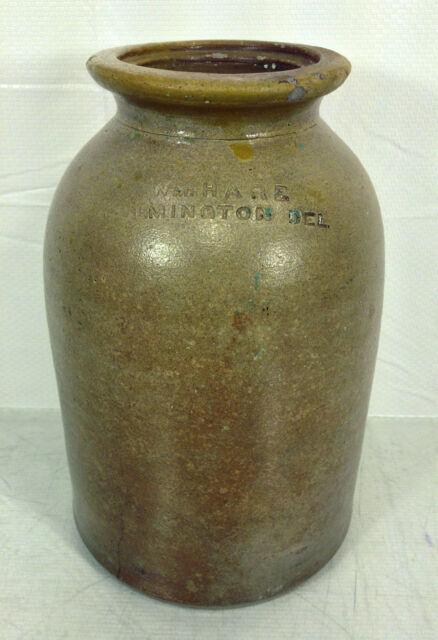 Antique Wiliam Hare Fruit Canning Crock Jar Wilmington DE 1850s to 1880s