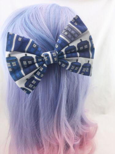 Geeky Whovian Hair Clip Doctor Who Tardis Grid Print Handmade Large Hair Bow