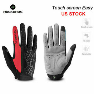 RockBros Cycling Long Full Finger Winter Warm Touch Screen Gloves-Cobweb Blue