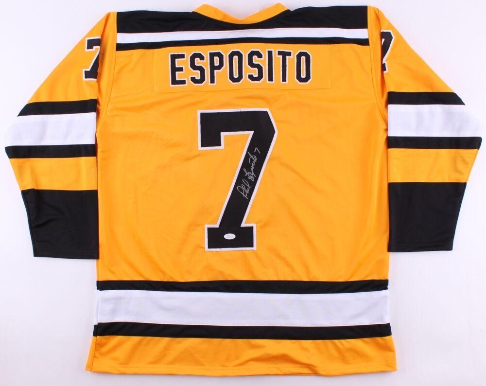Phil Esposito Firmado Bruins Jersey ( JSA ) Primera NHL Reproductor 100pts en