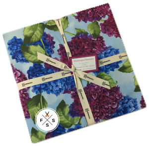 Clothworks-Hydrangea-Harmony-10-034-Fabric-Quilting-Squares-Layer-Cake-B09