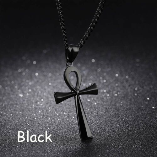 Jewelry Link Chain Pendant Metal Cross Necklace Egyptian Life Surgical Steel