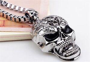 Tibet-Men-039-s-Bone-Skeleton-Silver-Skull-Pendant-Infinity-Chain-Charm-Necklace