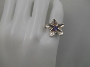 Tiffany-amp-Co-Nature-Blue-Iolite-Flower-Ring-Sz-5-Sterling-Silver-Rare