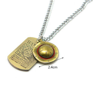 HOT Anime One Piece Luffy Straw Hat Wanted Necklace Bronze Metal Pendant Cosplay