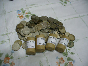 LOT-OF-25-PRE-1967-CANADA-SILVER-COINS-DIMES-1-2-ROLL-10-CENTS-JUNK-80