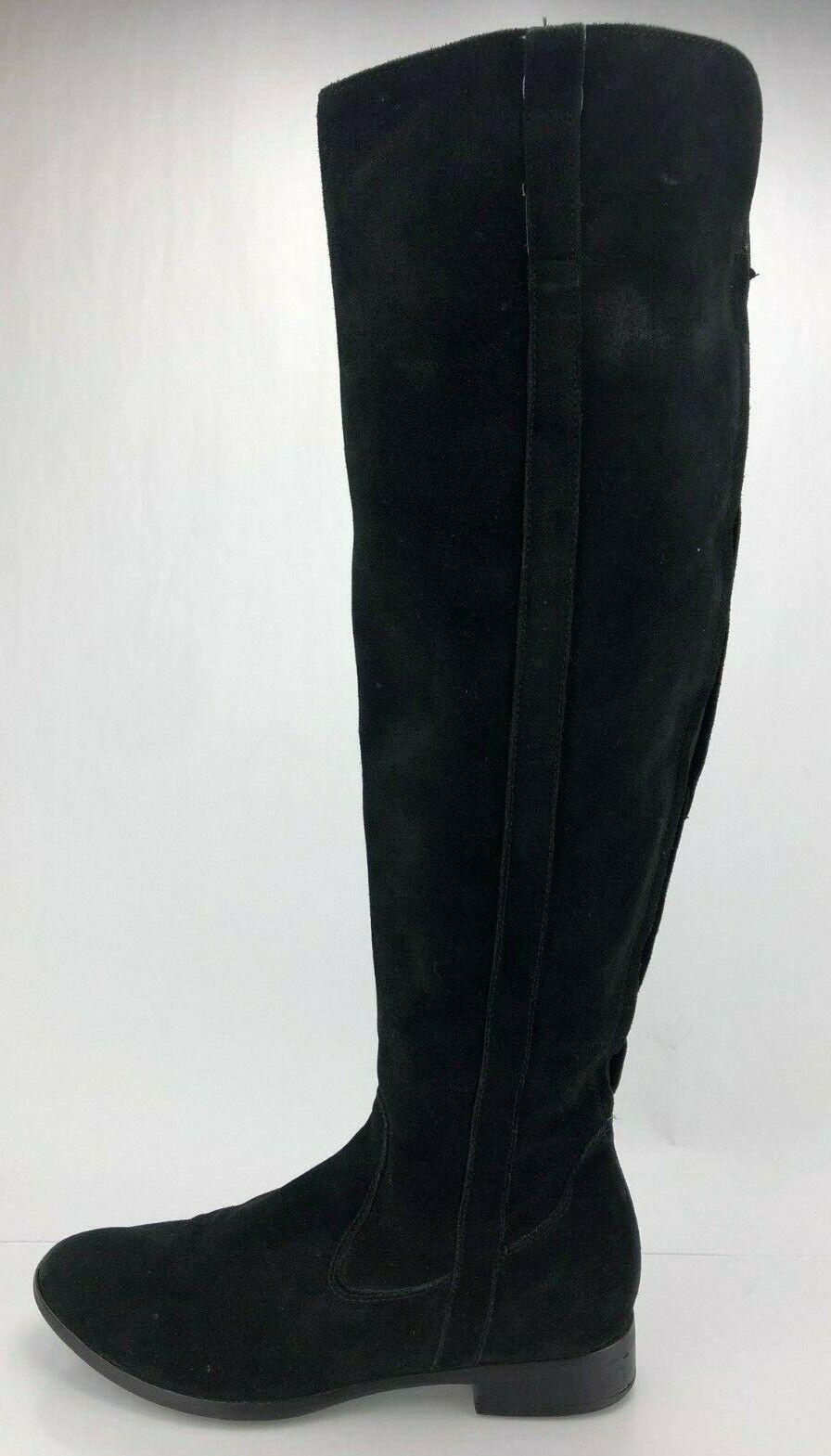 Clarks botas Gamuza Negra De Cremallera cómoda Alto Zapato de moda informal sobre la rodilla mujeres 8 M