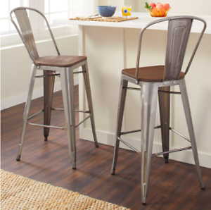 Details about NEW Set of 2 Counter Height Bistro Kitchen Bar Stool Gray  Metal Wood Seat Back