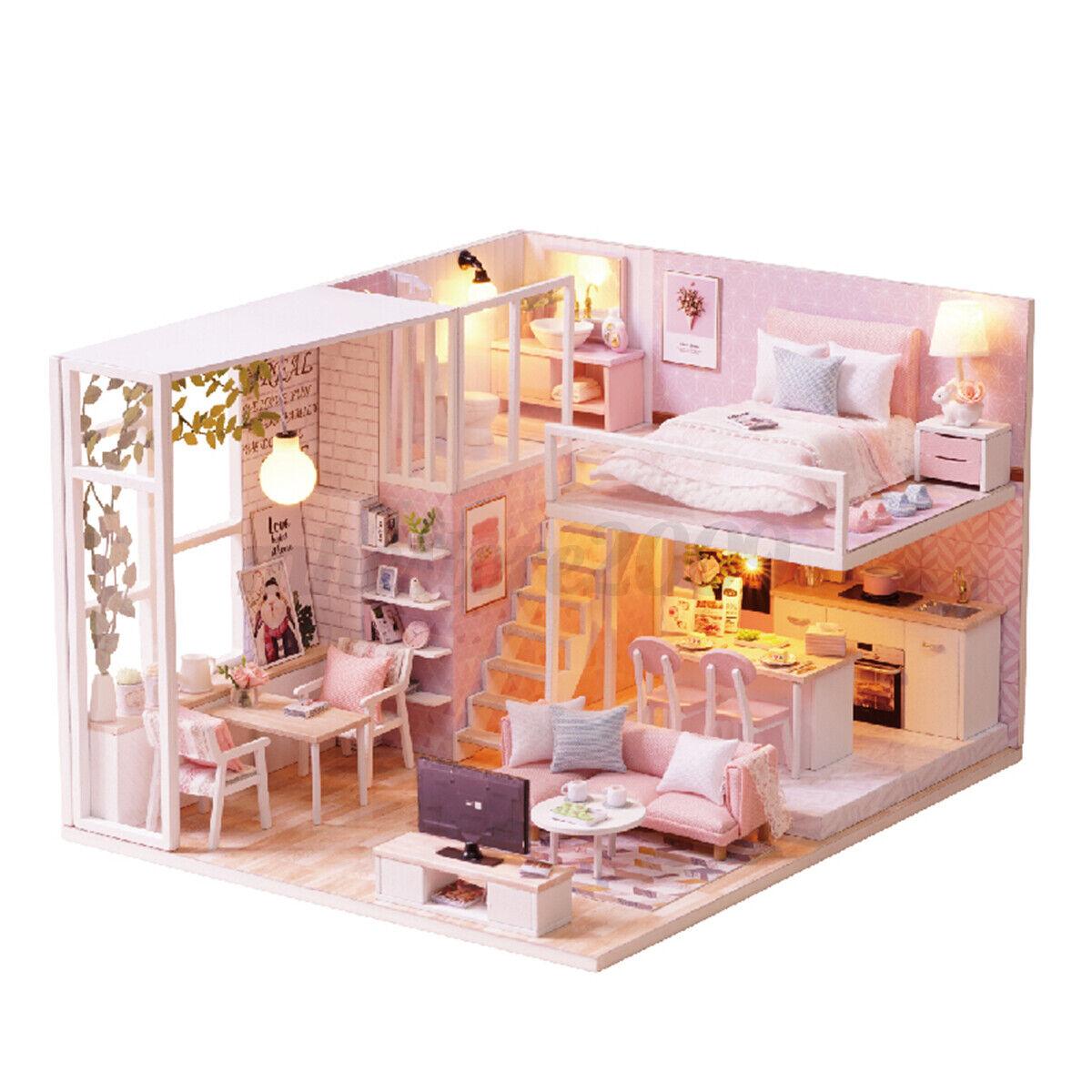 1//124 DIY Dollhouse Wooden Miniature Furniture Kit Mini 3D House with LED /&