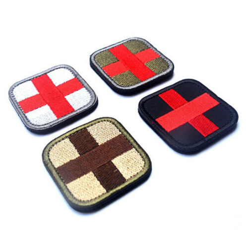 outdoor survival first aid cloth cross hook loop fastener badge patch  Jn