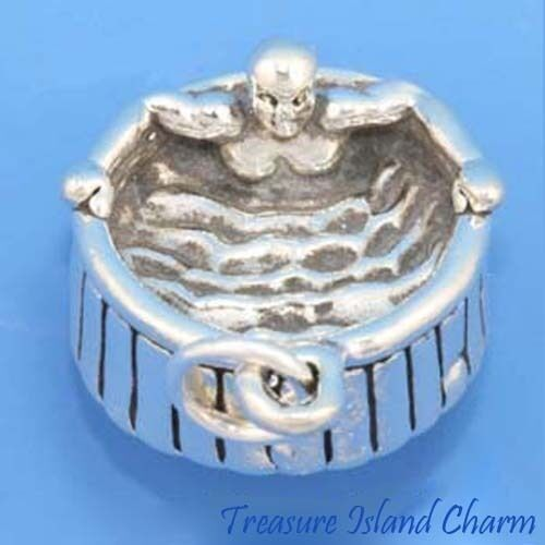 Heavy Hot Whirlpool baignoire Spa 3D .925 Solid Sterling Silver Charm Made in USA
