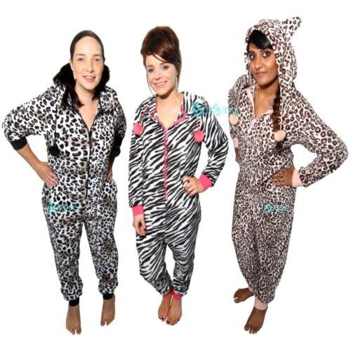 Ladies Animal Print Hooded Onesee All in One Fleece Pyjama  Onezee
