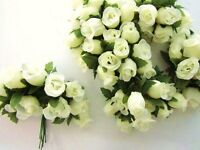 144 Poly Silk Artificial Rose Flower 4 Stem/floral Bouquet/wedding H415-ivory