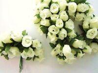 144 Poly Silk Artificial Rose Flower 4 Stem/floral Bouquet/wedding H415-ivory
