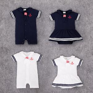 5c5656820c3d UK Baby Boy Girl Sailor White Navy Romper Suit Grow Dress Summer ...