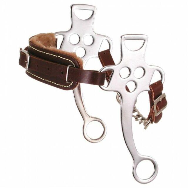 Tough-1 SS Fleece Lined Dark Brown Leather Hackamore Bit Horse Tack