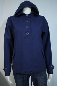 Coldwater-Creek-Misses-XS-Blue-Half-Snap-Hooded-Pullover-Cotton-Shirt-Jacket