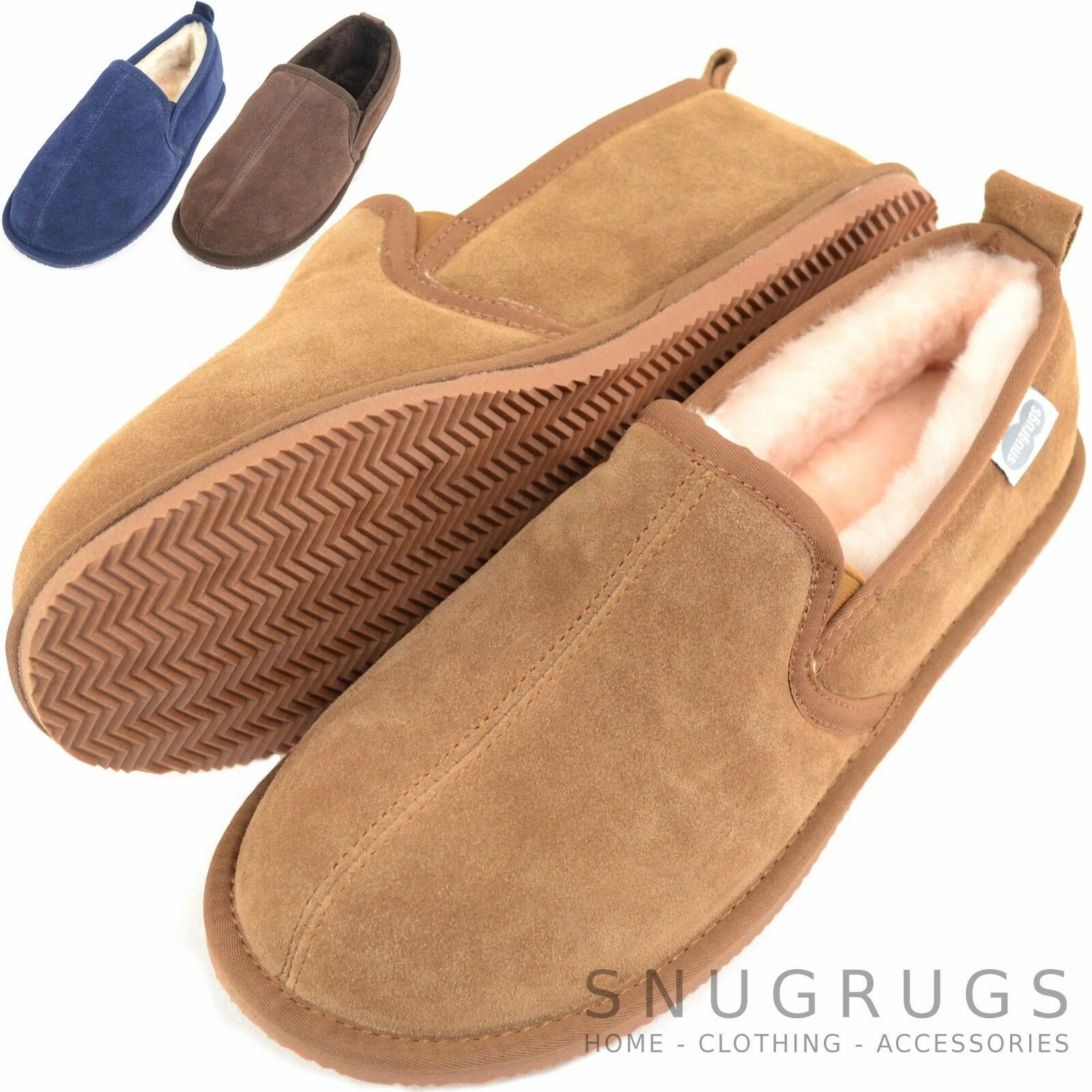 SNUGRUGS Mens   Gents Luxury Full Sheepskin Slipper Boots with Rubber Sole