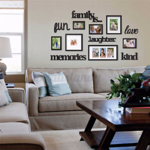 3D Family Tree Acrylic Photo Frame Picture Black Poster Set Art Wall Home Decor