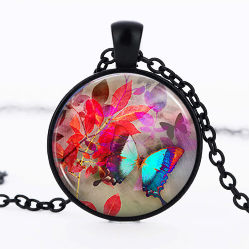 Butterfly Black Dome Glass Cabochon Necklace chain Pendant #62