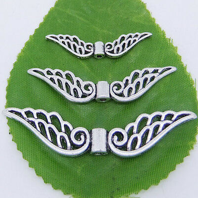 Tibetan Silver Hollow Fancy Angel Wing Charms Spacer Beads DIY Pick 32mm or 52mm