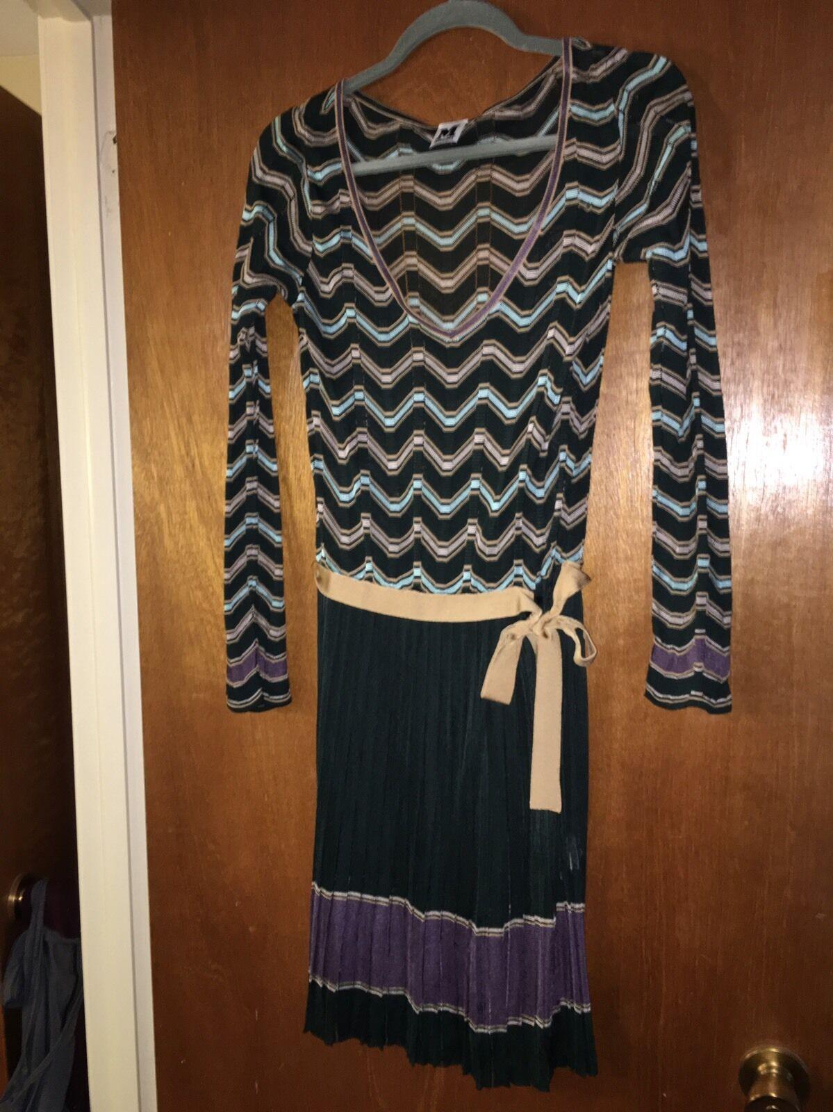 M Missoni Knit Pleated Skirt Dress Size 6