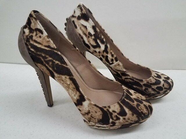 Vince Camuto Fuzzy Animal Print Heels shoes w Metal Studs Worn Once 8B