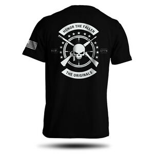 Honor-The-Fallen-T-Shirt-American-Punisher-Legend-Sniper-Army-Military-Men-039-s-Tee