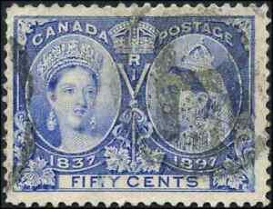 Canada #60 used VF 1897 Queen Victoria 50c ultramarine Diamond Jubilee CV$250.00