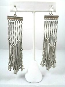 Stunning-Vintage-High-End-ARMANI-EXCHANGE-Dangle-Chains-Silver-Tone-Earrings-4-034