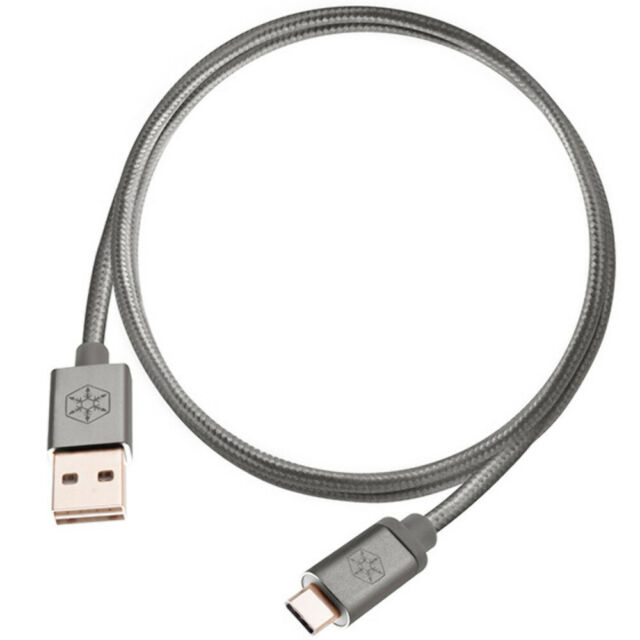 SilverStone CPU04C Reversible USB A to USB C Cable Charcoal 1m