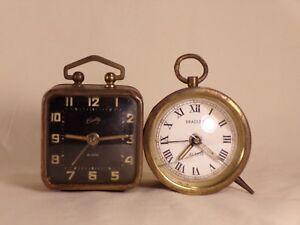 2-Small-Bradley-Wind-Up-Alarm-Clock-West-Germany