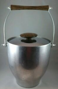 Mid-Century-Italian-Aluminum-Teak-Atomic-Ice-Bucket-MCM-Retro-Metal-Wood-Tiki