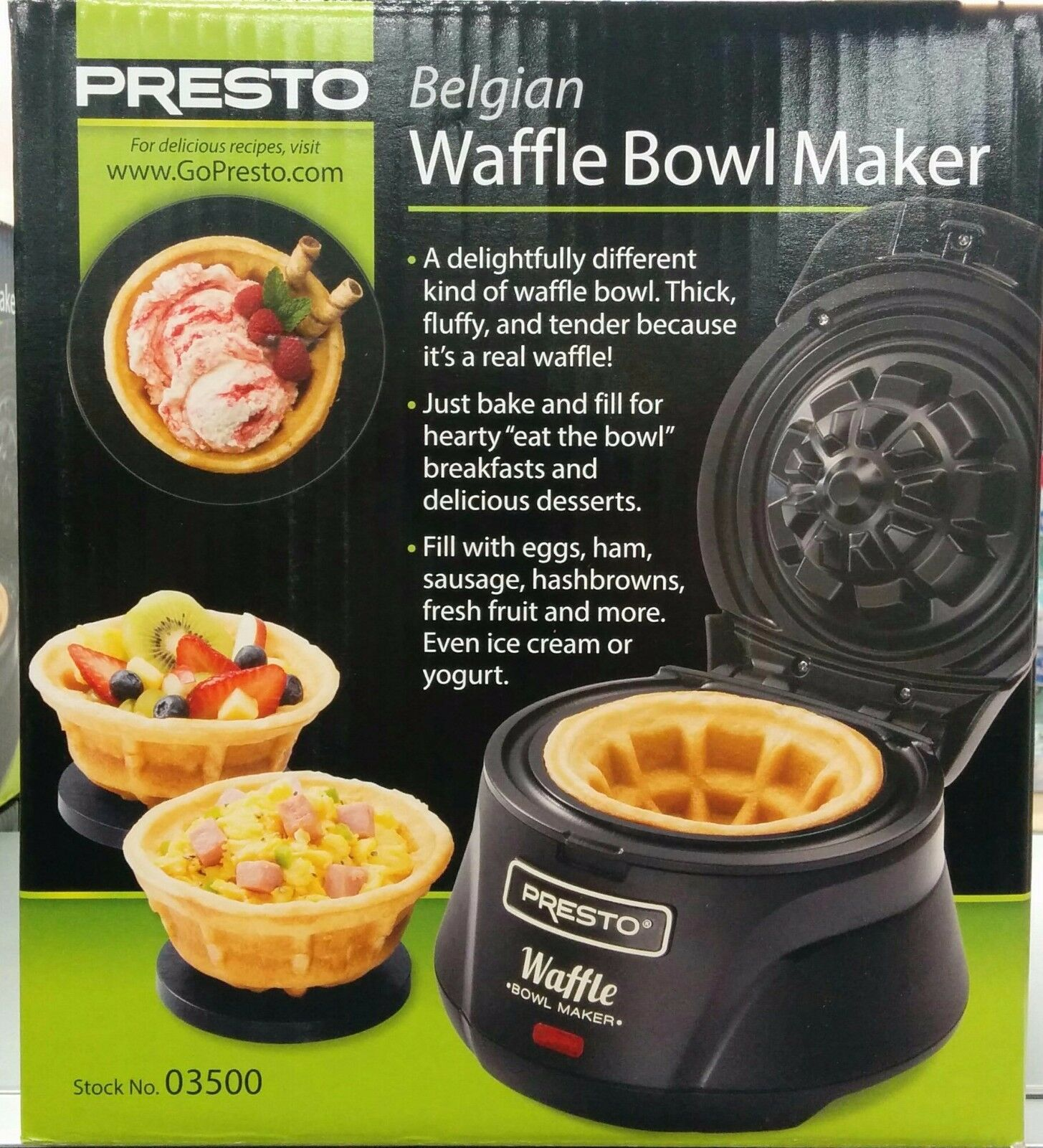 Gaufre Belge Bowl Maker  Presto  rend 4 in (environ 10.16 cm) Gaufre Bols-free ship to USA