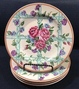 Fitz-And-Floyd-Omnibus-Brittany-Salad-Plates-Set-of-4-Vintage-Stoneware-1995