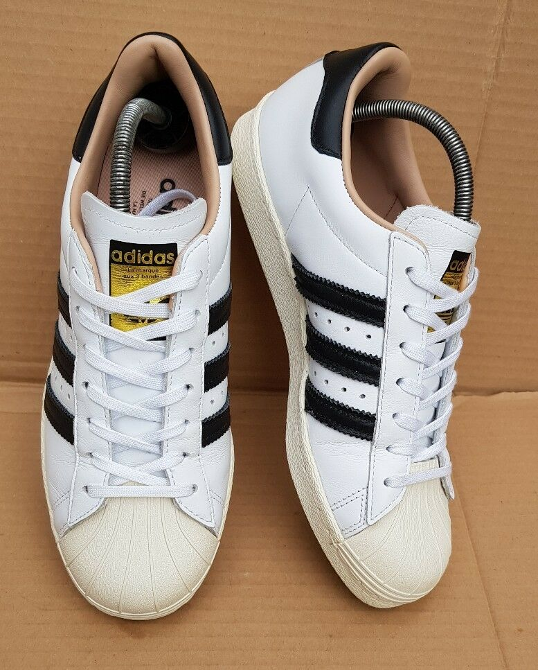 ADIDAS SUPERSTAR 80'S TRAINERS Taille 7IMMACULATE Noir AND Blanc