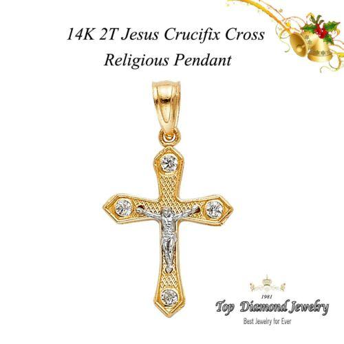 Croix crucifix pendentif en or 14k Jaune Charme Jésus religieux 0.9 g 20 mm x 13 mm