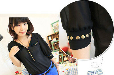 New Fashion Rivet V-neck Short Sleeve Chiffon Blouse Chiffon Shirt Tops