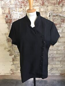 *sale* Black Asymmetric Polyester Beautician Tunic Size 22- Removable Lining Hochwertige Materialien