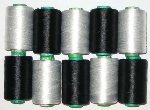 NEW BLACK /& WHITE RAYON Embroidery Thread THREADS FOR Brother Machine