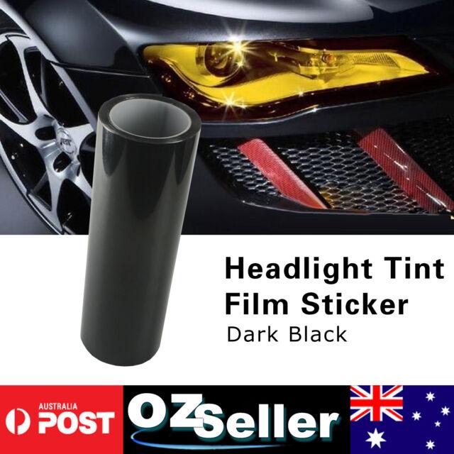 30 x 50cm Dark Black DIY Tint Car Headlight Fog Tail Light Vinyl Film Wrap 2pcs