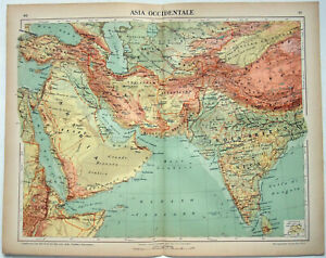 Western-Asia-Original-1915-Map-by-Kartographia-Winterthur-S-A-Antique