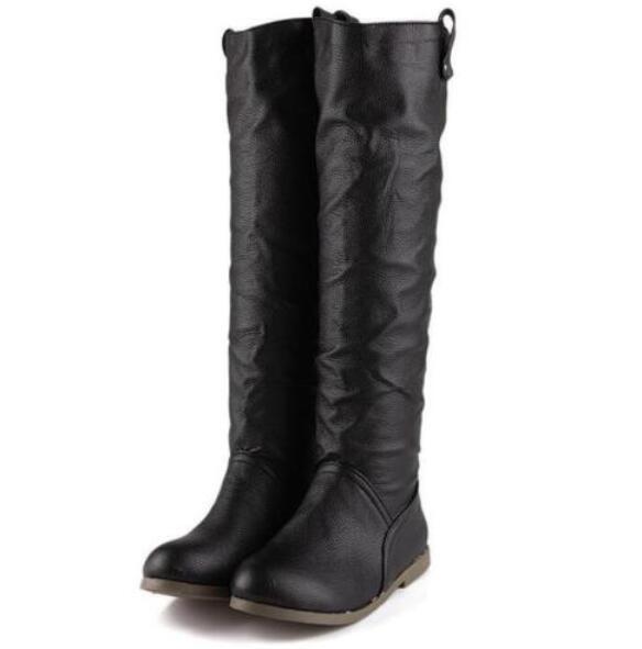 Women's Korean Round Toe Knee-High Flat Heel Boots Slip on Casual Dress shoes Sz