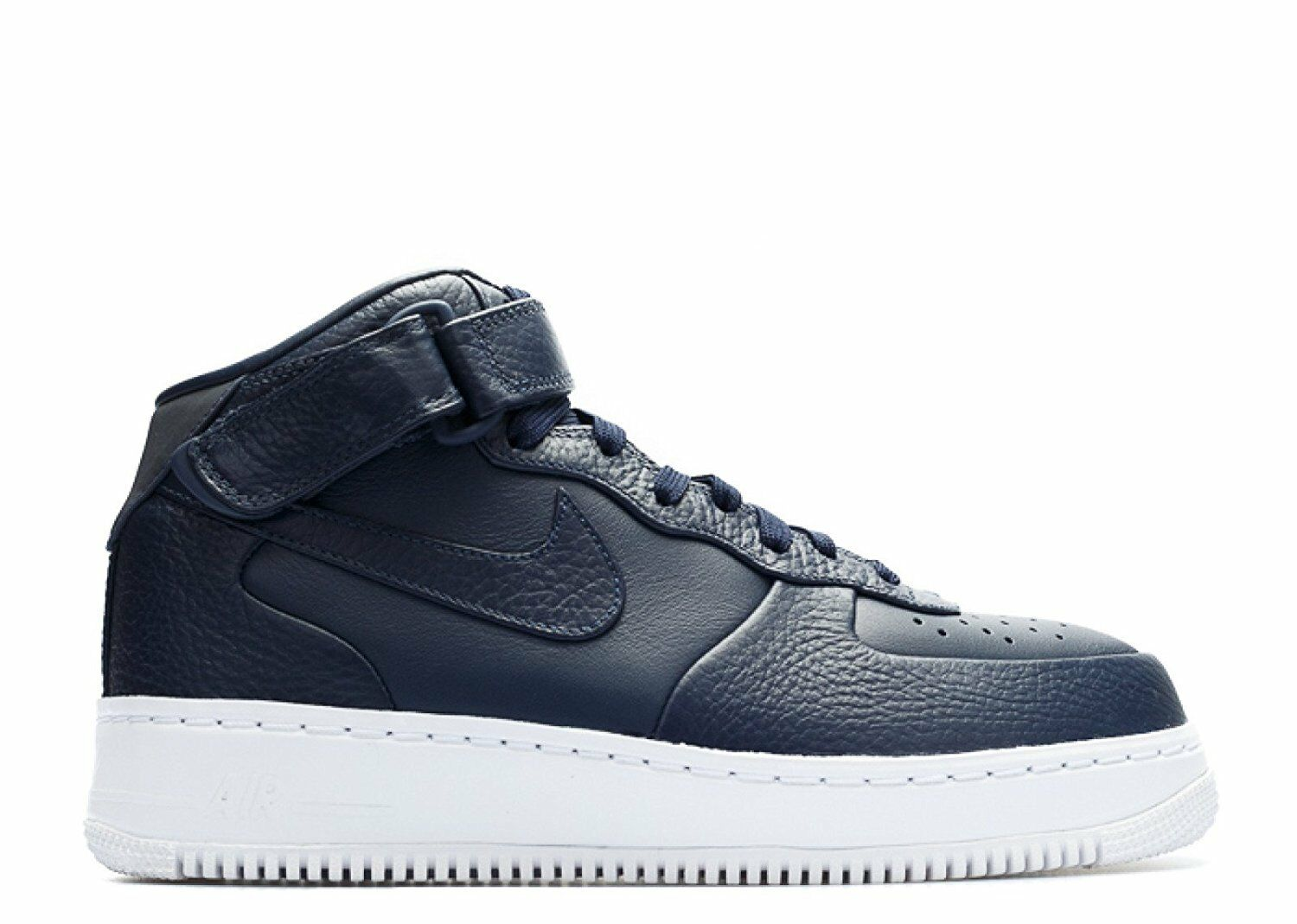 NEW NIKE NIKELAB AIR FORCE 1 MID PREMIUM OBSIDIAN/WHITE 819677-400 Price reduction Wild casual shoes