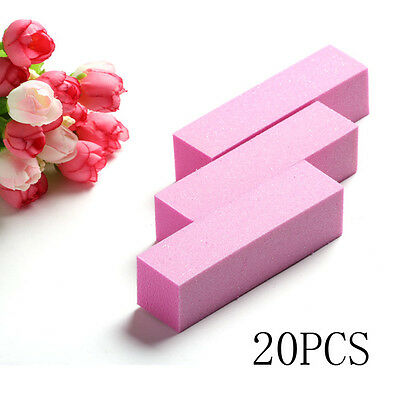 20pcs Pink Sanding Nail Art DIY Decoration Files Buffer Manicure Polish Tool NEW